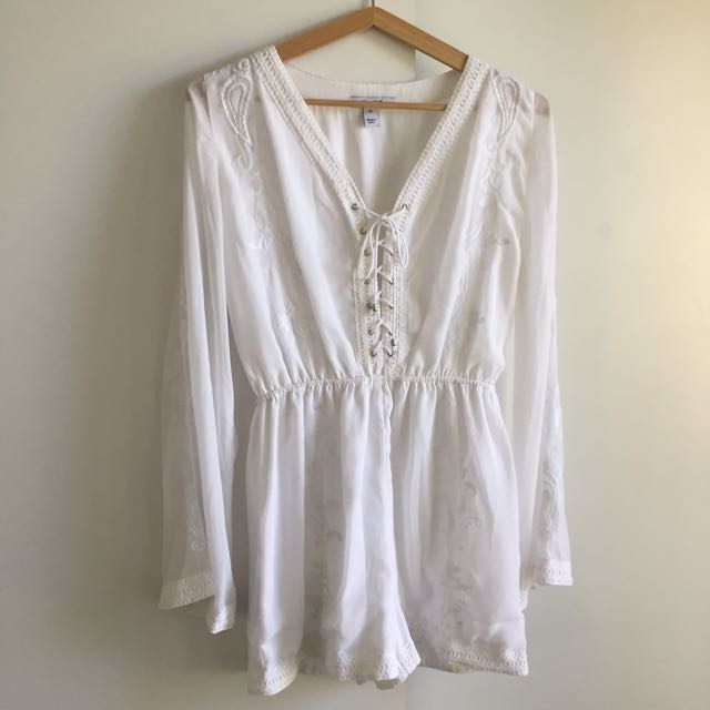 White Playsuit - Embroidered