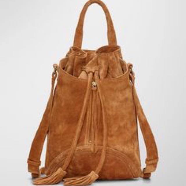 Wilfred Free (Aritzia) Suede Camel Bag With Tassels