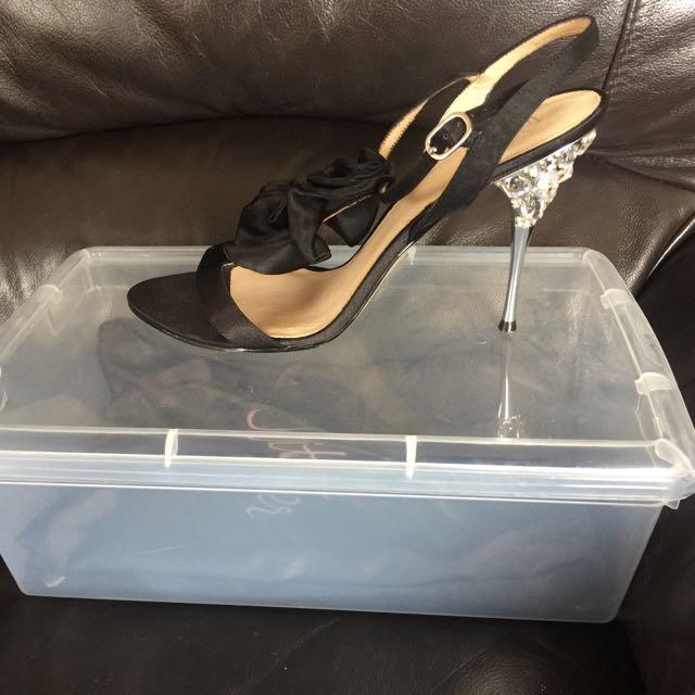 WITTNER black strappy diamanté heel