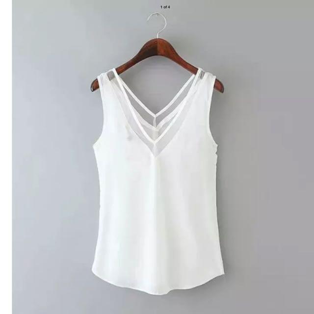 Women's White Blouse Top V-Neck