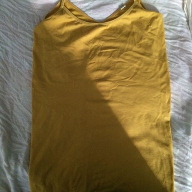 Yellow Spaghetti Strap Shirt