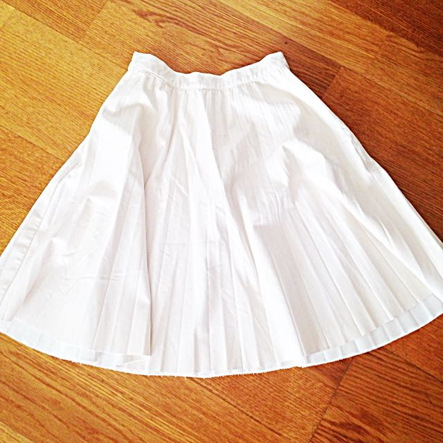Zara Cream Leather High-waisted Skirt