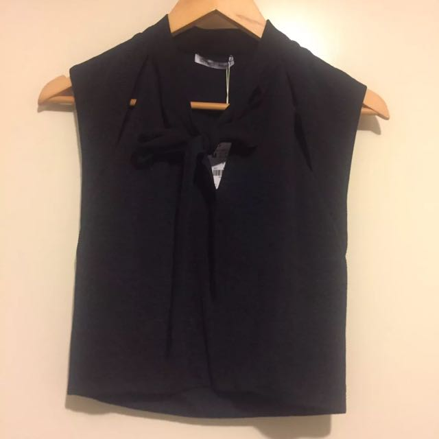 Zara Crop Top Blouse With Pussy Bow