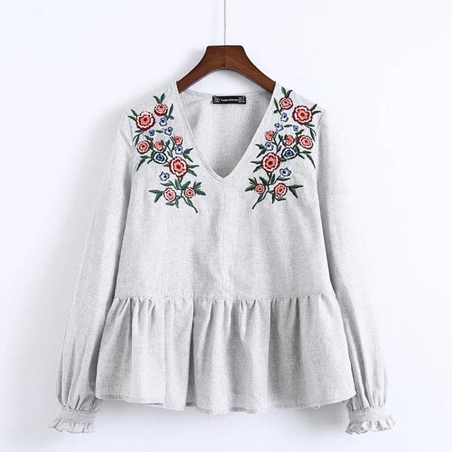 b0761ac95dbf90 Zara Inspired Floral Embroidered Top, Women's Fashion, Clothes, Tops on  Carousell