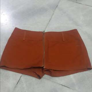 REDDISH-BROWN ZIPPER HOTPANTS