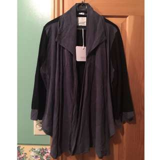 *reduced* NWT Primness silk wool obo jacket cardigan top black grey size 3 (small)