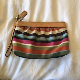REDUCED Coach Silk Striped Wristlet