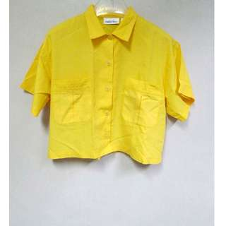 Bright Yellow Crop Blouse