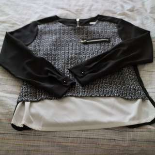 Black and White Top from Korea Medium