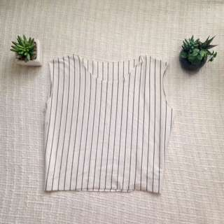 White Pinstripe Top