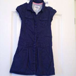 H&M Navy Blue Short Sleeve Cotton Dress Size 7-8 Years