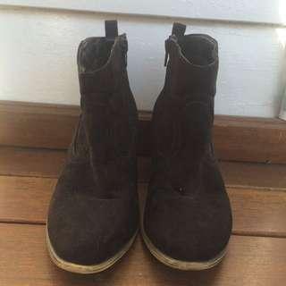Bootie with wooden heel