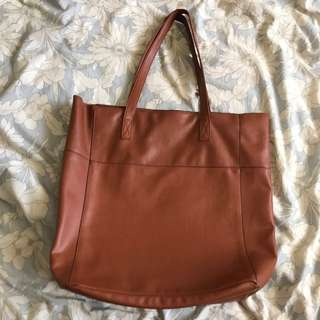 Sportsgirl Brown PU Leather Tote Bag