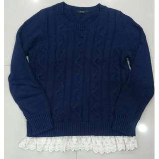 下擺蕾絲針織毛衣-深藍