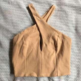 Bardot Nude/Tan Halter Crop