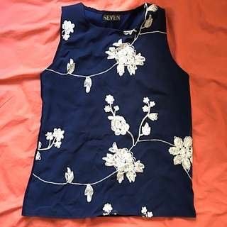 Sleeveless Blue Formal/ Casual Top
