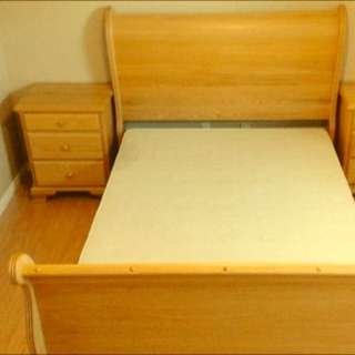Solid Oak Sleigh Single Beds