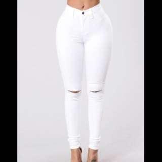 White Knee Slit Jeans