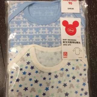 全新Uniqlo長袖包屁衣2件 迪士尼米奇