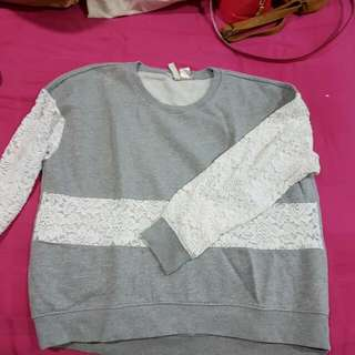 H&M Grey Pullover With Lace Details