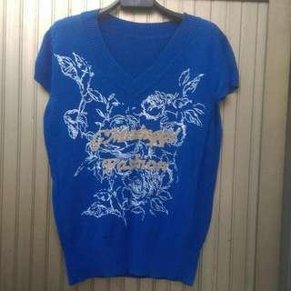 針織線衫,閃電藍,m號,全新,只賣100。