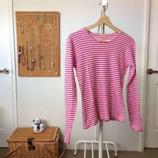Pink Striped Long Sleeved Shirt