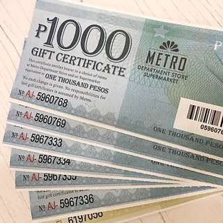 6.5K worth of Metro Gaisano Gift Certificate for 5K only!