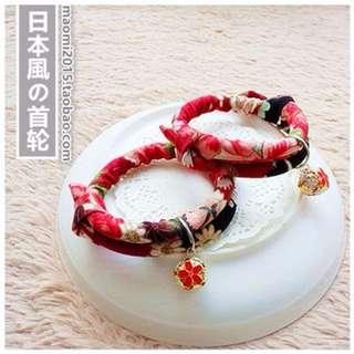 手工手作 寵物 貓 狗 鈴鐺 和風 項圈 紫 紅 招財貓 項圈 日本 進口 印花 布料