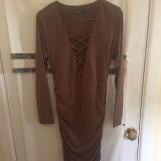 Brown Mirrou Dress
