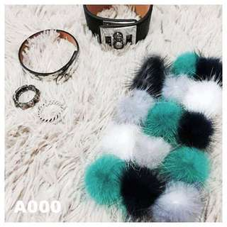 暖呼呼水貂毛球手機殼-藍綠白款/i6 plus(可換物)