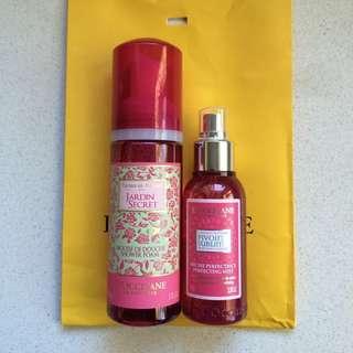 L'occitane shower foam and body mist gift set
