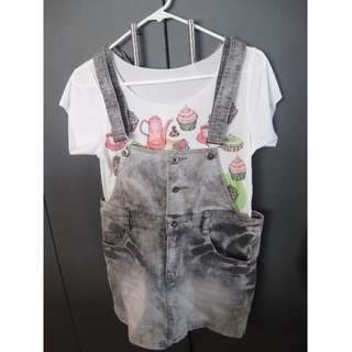 Dungaree Dress with Tshirt
