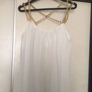 Long White Maxi Dress With Gold Chain