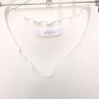 Meier.Q 捲餅白色V領上衣