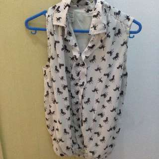 No Brand Blouse In Horse Pattern