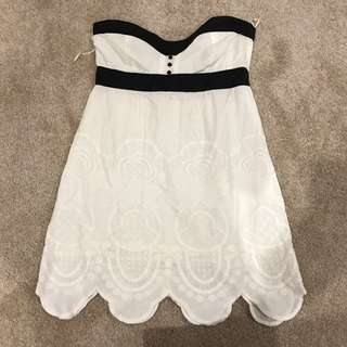 Tigerlily Mini Baby Doll White Cotton Dress