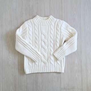 古著 / 米白色麻花毛衣