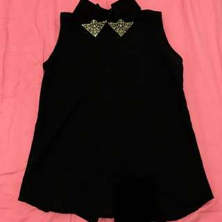Brand New Black Chiffon Top