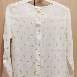HnM Sheer White Shirt With Gold Prints