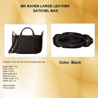 MK Raven Large Leather Satchel Bag - Black