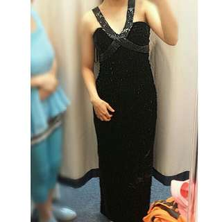 (RENT) Floor-Length Black Velvet Criss-cross Ball Dress (Rent)