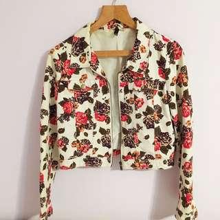 BN H&M Floral Denim Biker Jacket