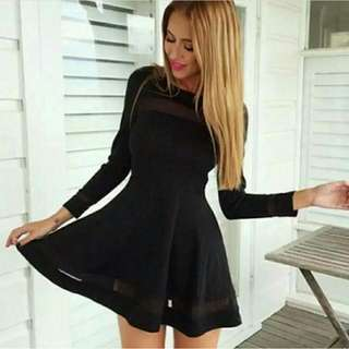 Long Sleeves Mesh Dress