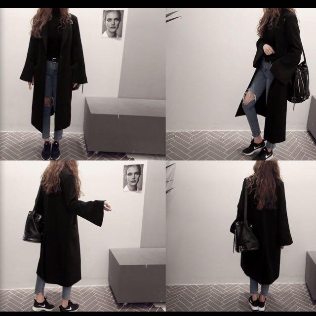 正韓喇叭袖寬袖長版黑外套