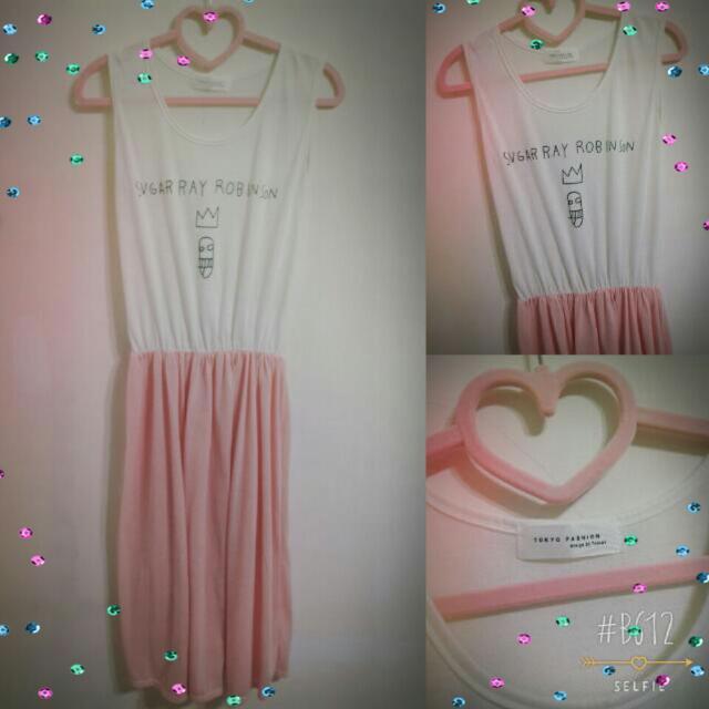 ☆゚・*:.。粉紅色連身縮腰長洋☆゚・*:.。