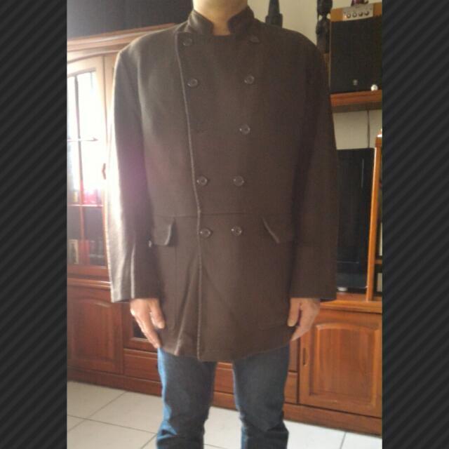 正品 義大利製 Emporio Armani雙排扣小大衣