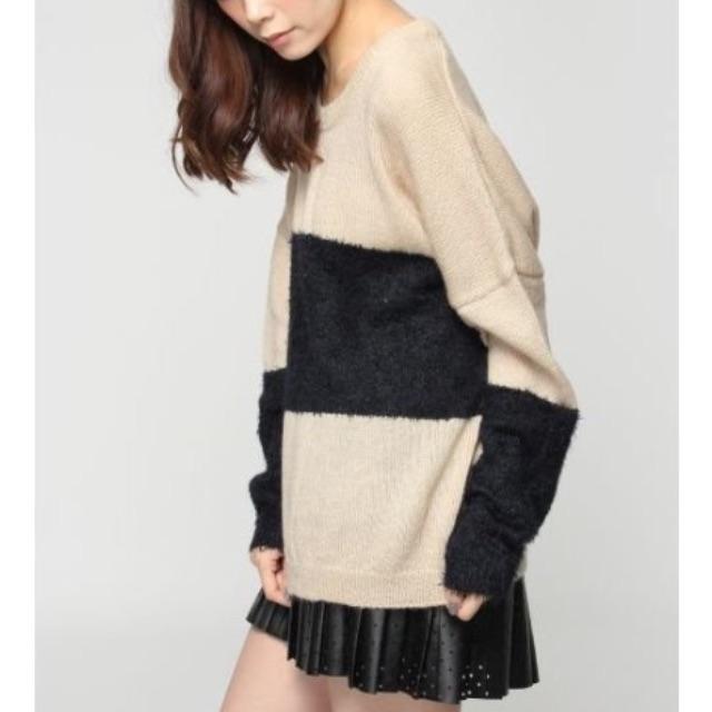 轉賣 專櫃 Jeanasis 駝X深藍 毛海拼接雙色寬條紋毛衣