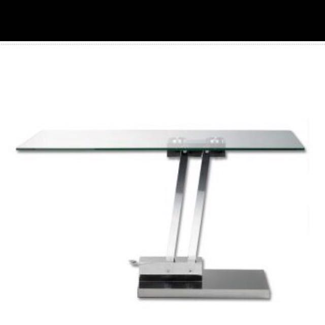 Adjustable Height Glass Coffee Table Convertible into a Contemporary Modern desk