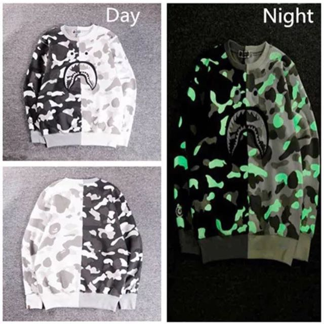 bape glow in the dark sweater (white)