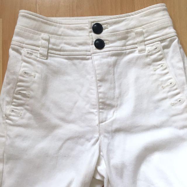 Bardot Denim High Waisted White Jeans Size 6